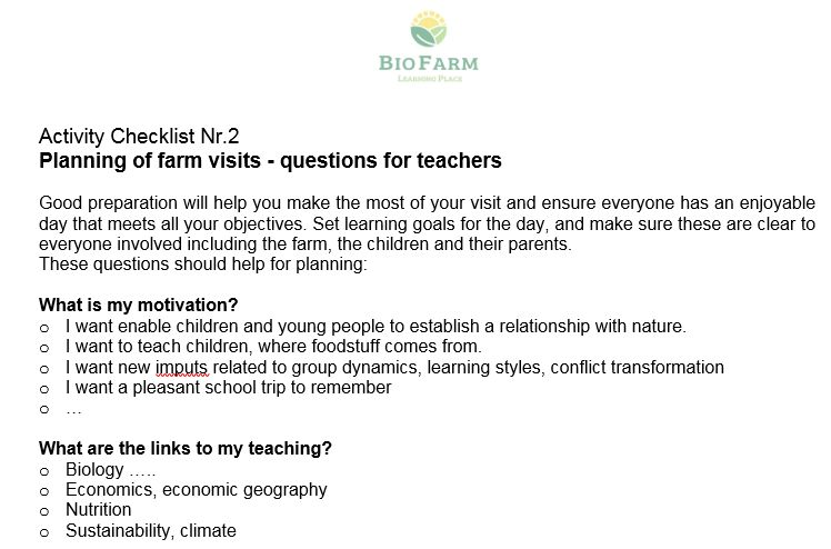 Learning on Biofarm - Chapter 2 – Reflect chances and challenges of farm- visits for a school group